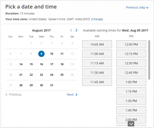 schedule a meeting time